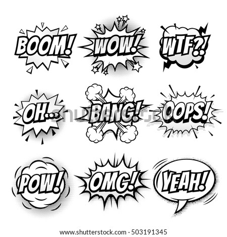 Vector comic speech bubble with phrase Boom, Wow, WTF, Oh, Bang, Oops, Pow, OMG, Yeah. Black and white comic cartoon sound bubble speech set