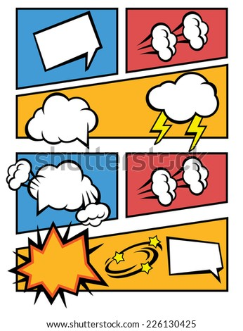 Vector comic speech bubbles illustration - stock vector