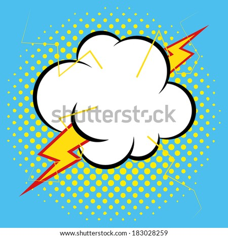 Vector Comic Style Cloud With Ray Isolated On Background