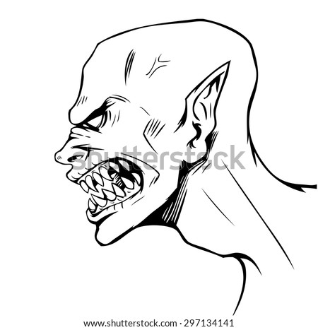 Vector comics illustration of vampire profile, black and white