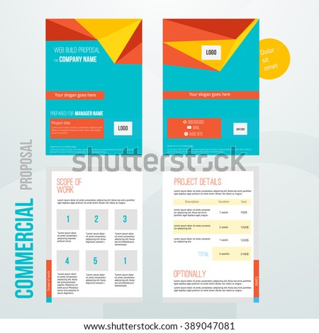 Vector commercial proposal design template your stock vector vector commercial proposal design template for your business in bright colors eps10 cheaphphosting Images