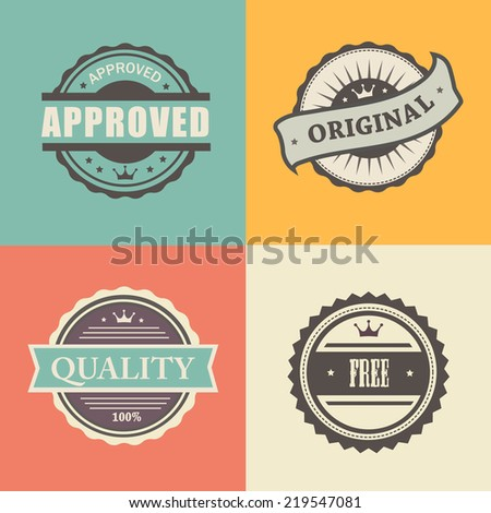 vector commercial stamps set in vintage style for business and design approved free original