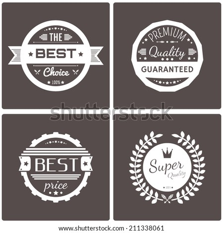 Vector commercial stamps set in vintage style for business and design. Typographic design elements. Vector illustration.