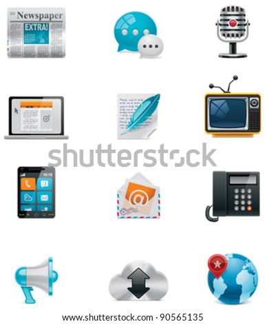 Vector communication and social media icon set. Part 1 - stock vector