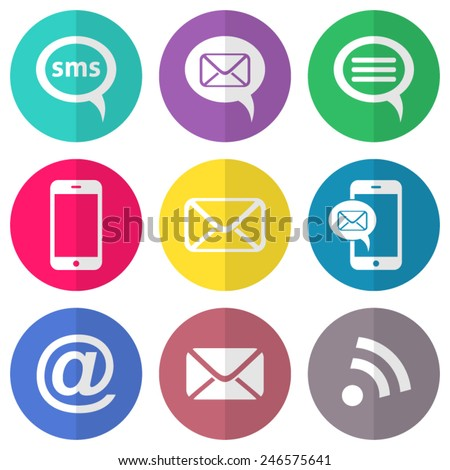 Vector communication flat icons on round colorful buttons