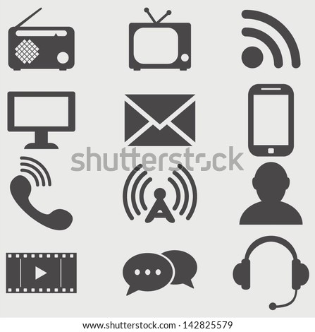 Vector Communication icons. - stock vector