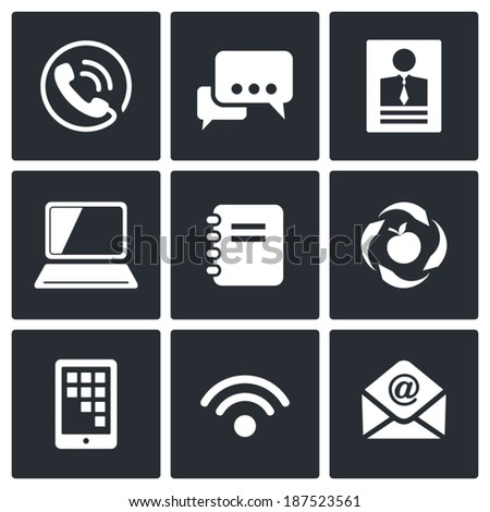 Vector Communication icons set - stock vector