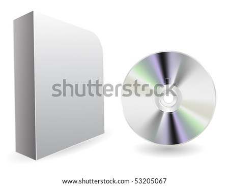 vector compact disc with box - stock vector