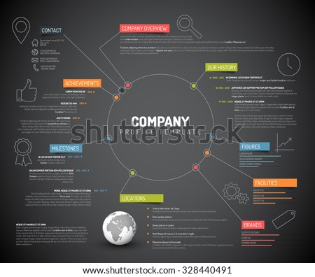 Vector Company infographic overview design template with colorful labels and icons - dark version - stock vector
