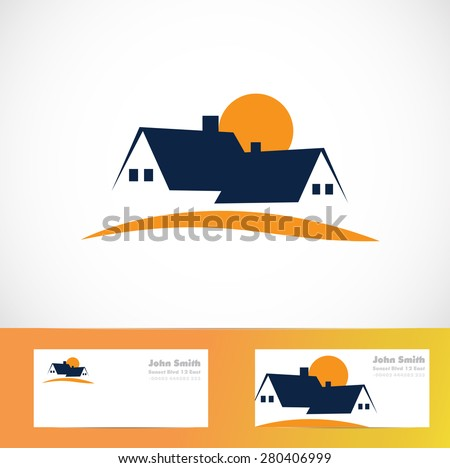 Vector company logo element template of residential real estate house sun concept - stock vector