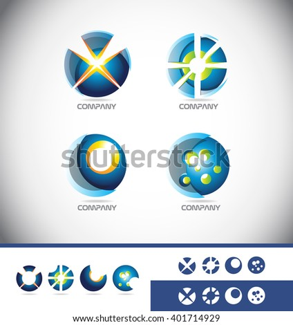 Vector company logo icon element template abstract sphere globe 3d games gaming