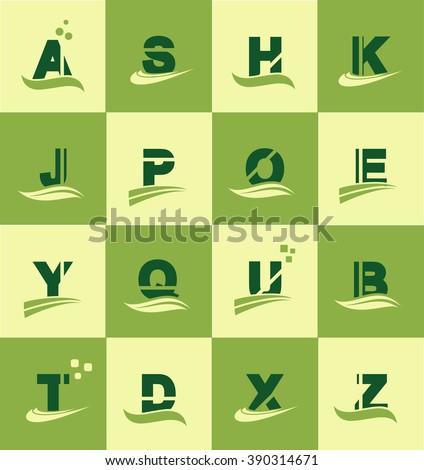 Vector company logo icon element template alphabet letter set green yellow swoosh flat a s h k j p o e y q u b t d x z  - stock vector