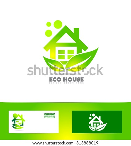 Vector company logo icon element template eco home house real estate green leaf