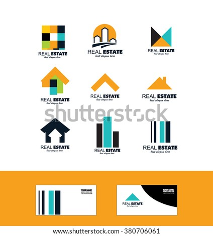 Vector company logo icon element template real estate house set home roof residential property