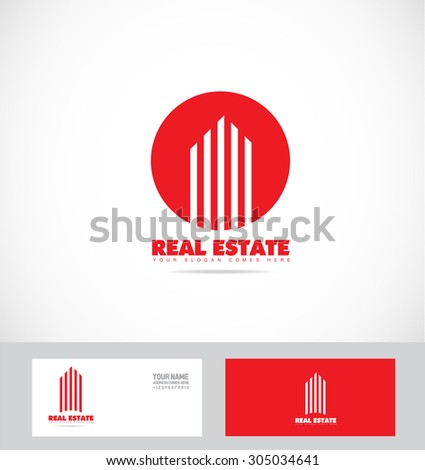 Vector company logo icon element template real estate red abstract line