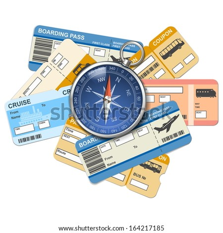 Vector compass and tickets - stock vector