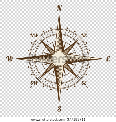Vector Compass. Height Quality Illustration. Old Style. West, East, North, South. Wind Rose Simple Style Isolated - stock vector