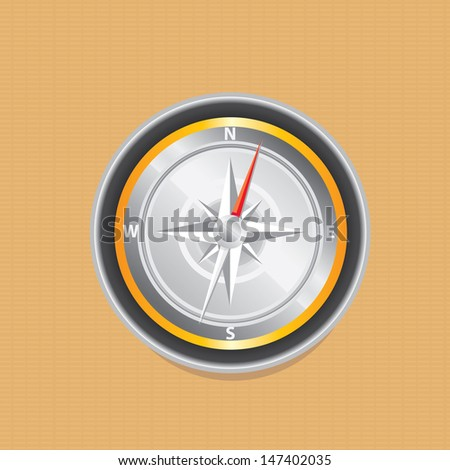 vector Compass on aged paper. navigation and traveling sign. travel or mobile app compass icon