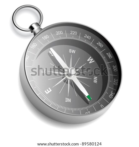 Vector compass on white background