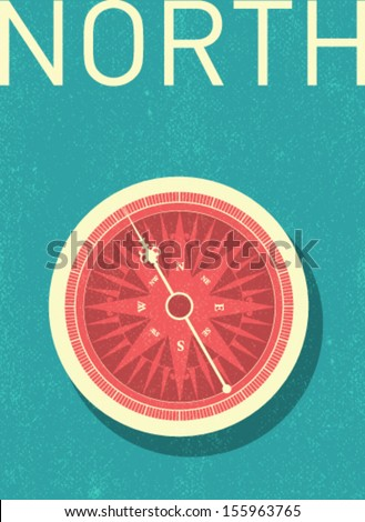 vector compass - retro illustration - stock vector