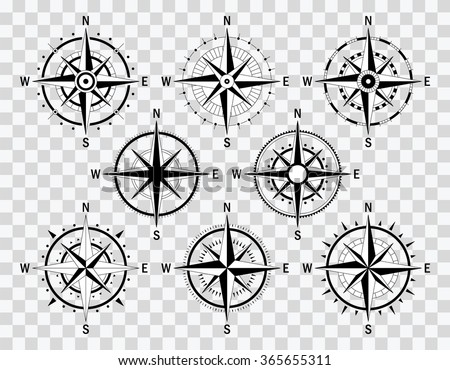 Vector compass set. Vector geo mark Wind Rose. Isolated vector compass. Rose Wind in lineal style. Image of Compass Rose for Columbus Day.  - stock vector