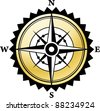Vector compass with gold background - stock photo