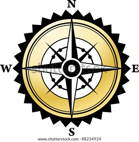 Vector compass with gold background - stock vector