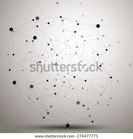 Vector complicated 3d figure, modern digital technology style form. Abstract unusual background.  - stock vector