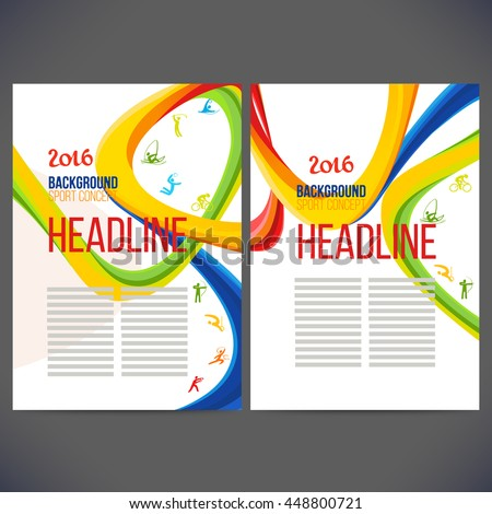 Vector composition of a wave of bands with different colors are intertwined including sport symbols.Concept brochure,page,leaflet, sport banners or ticket 2016 year with sign element.
