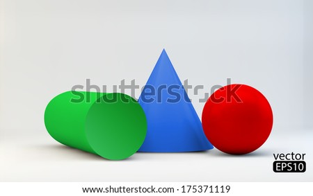 vector composition of 3d geometric primitives - stock vector