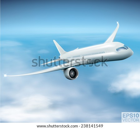 Vector composition of modern jet airliner during the flight. Easy to put text or any other element behind the plane or transparent clouds. - stock vector