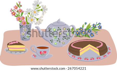 Vector composition with kettle, cups, cake and flowers. Set of isolated objects. - stock vector