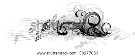 Vector composition with notes - stock vector