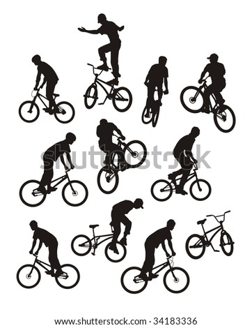 Vector composition with silhouettes of bicyclists. Only ten silhouettes of black colour. Near to them a bicycle silhouette. - stock vector