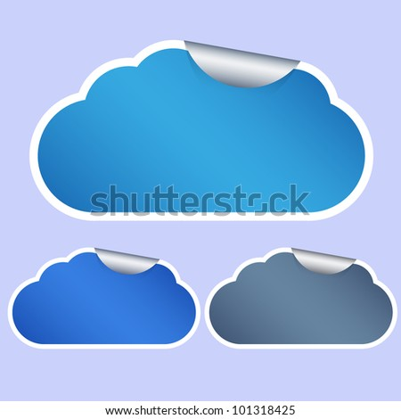 Vector computer cloud stickers on blue background. Eps10 - stock vector