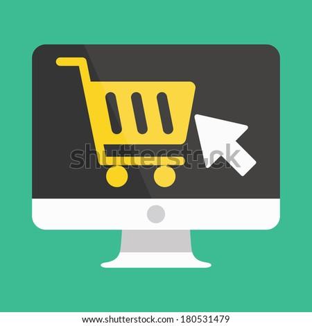 Vector Computer Display Buy Online Icon Ecommerce Concept - stock vector