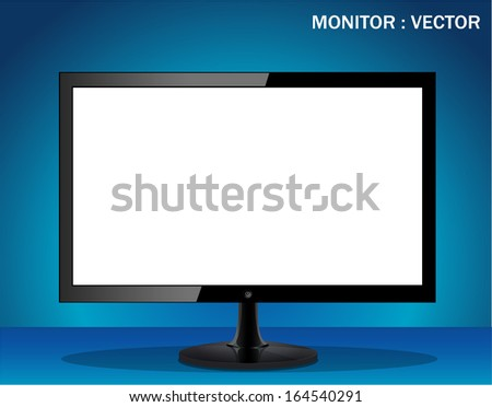 Vector computer display isolated on blue background