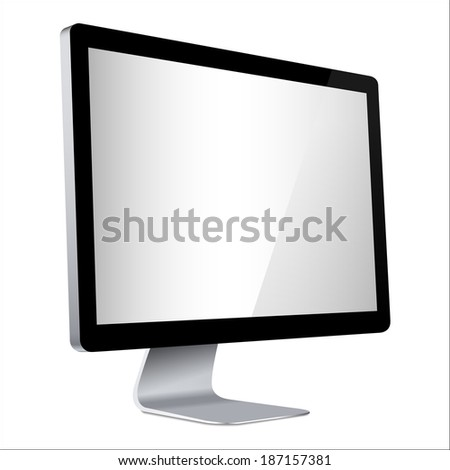 vector computer display side isolated on white background