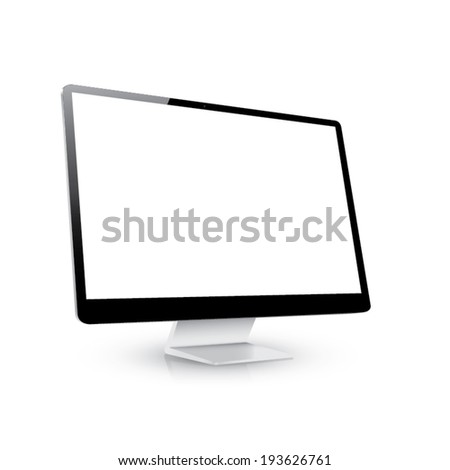 Vector computer display side view isolated white background
