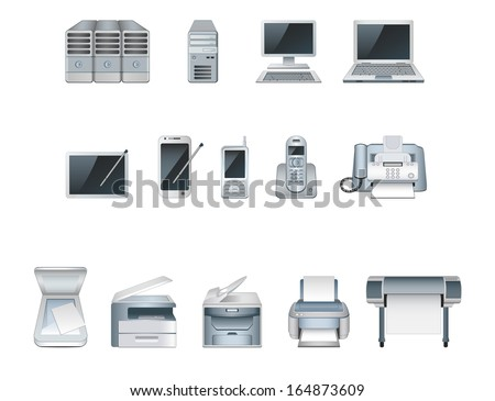 Vector computer icon set - stock vector