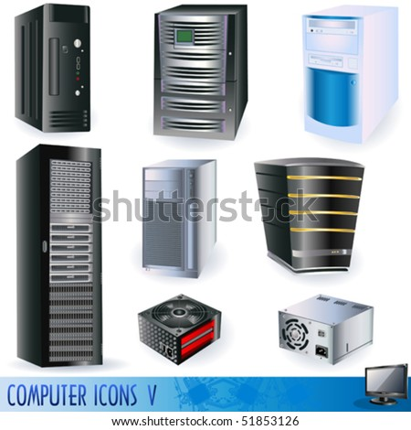 Vector computer icons, server, tower, power supply.