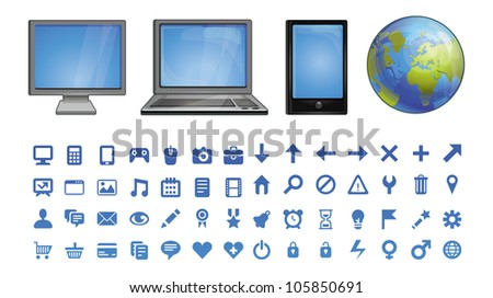 vector computer icons  - set of pictograms for software - stock vector