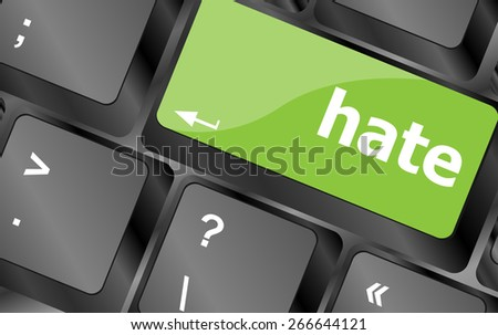 vector computer keyboard with words hate on enter button - stock vector
