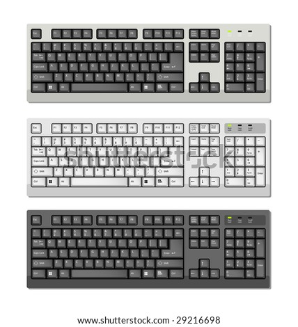 Vector Computer keyboards with ENG letters - stock vector