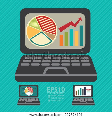 Vector : Computer Laptop With Pie Chart and Bar Chart on Screen Icon or Label in Blue Background - stock vector