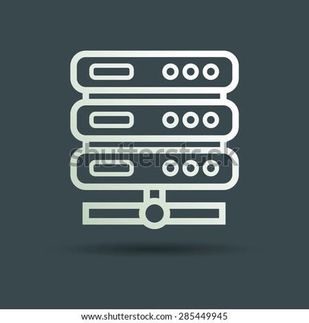 Vector computer server icon. Flat design. - stock vector