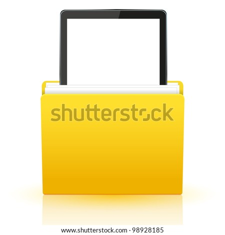 Vector computer tablet in yellow folder. Eps10 - stock vector