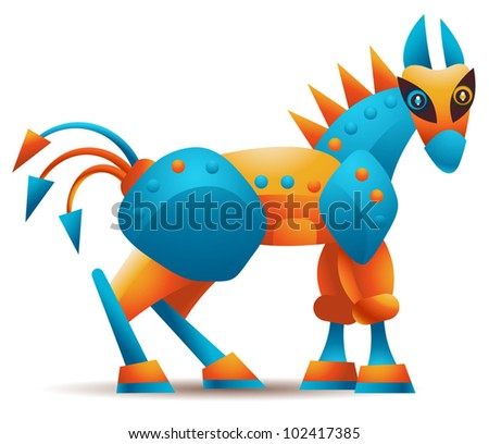 Vector computer Trojan horse malware or any other Trojan horse concept - stock vector