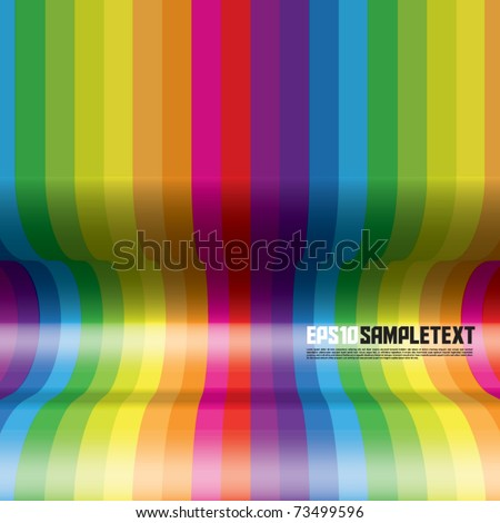 Vector Concave Rainbow Stripes - stock vector