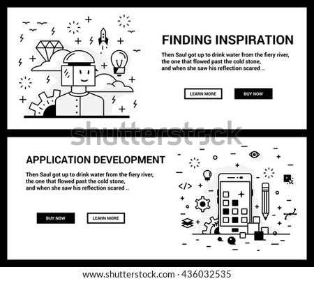 Vector concept, a set of banners for the site. Mini illustration of icons on a theme search of inspiration and application development. Drawn in an unusual modern flat linear style. - stock vector